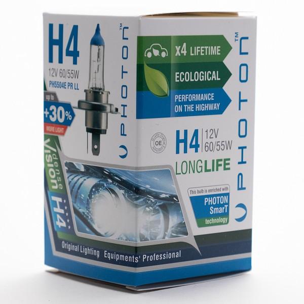 Bec PHOTON H4 12V 60/55W ECO +30% mai multa LUMINA & Durata de Viata - PH5504 E