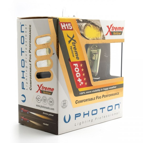 Set becuri PHOTON H15 12V 15/55W XTREME GALBEN - PH5515 XY
